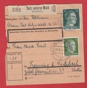 Colis Postal  --  Départ Sulz Unterm Wald  --  27/9/1943 - Alsace-Lorraine