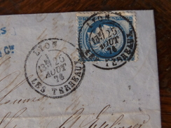 Lot Du 07.06.17_ LAC  De Lyon ,cachet Rond Sur Timbre, Variété Sur N°60 - 1871-1875 Cérès