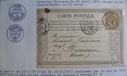 LOT 4269/161 - CARTE POSTALE (PRECURSEUR) - CERES N°55 (LETTRE) LYON > BESANCON - 1849-1876: Classic Period
