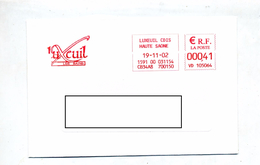 Lettre Flamme Ema Luxeuil Ville - Marcophilie (Lettres)