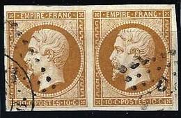 """YT 13B Paire """" Napoléon III 10c. Brun """" Losange Bureaux De Paris D - 1853-1860 Napoleon III"""