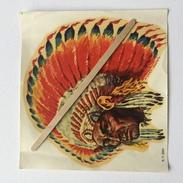 """INDIEN """" Superbe Décalcomanie Année 50 , Très Colorée (signéeZILOKY - BOSTON ). - Indiens De L'Amerique Du Nord"""