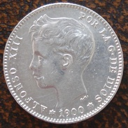 (J) ESPAÑA - SPAIN - Alfonso XIII: Silver Peseta 1900 19-00 AU (90)  SALE!!!!! - [ 1] …-1931 : Royaume