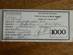 HYON +FRAMERIES:PERMIS DE PECHE DE 1985 DE 1000 FRANCS AVEC TIMBRES - Vieux Papiers