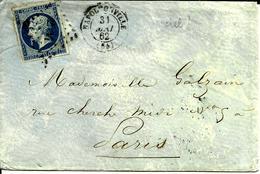 Enveloppe Napoleonville = (pontivy) Brest à Paris Chiffre 2534  31 Mai 1862 N°2 - 1862 Napoléon III