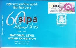 India  2016  Holographic Postmark  Swarovski Diamond Studded  Orchids Mystamp  Special Cover # 94879   Inde Indien - Holograms