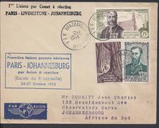 """A.E.F. 1953 - """" 1ère Liaison Postale Par Comet à Réaction """" Enveloppe De Brazzaville Pour Johannesbourg - B/TB - - Lettres & Documents"""