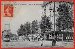 CPA 94 St SAINT-MANDE - Cours De Vincennes - Place De La Tourelle (tramway - Banque CREDIT LYONNAIS) ° L.G. - Saint Mande