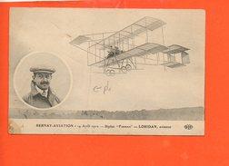 "Aviation - BERNAY-Aviation - Biplan ""Farman"" - LORIDAN, Aviateur ( état: Pli) - Aviateurs"