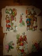 """Année 1889 :Page De 6 Chromos-découpis (3 """" Père Noël """" Avec Des Enfants, Fleurs, Etc) - Victorian Die-cuts"""