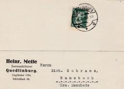 Allemagne Timbres Perforés Perfins Sur Carte Quedlinburg 1929 - Cartas