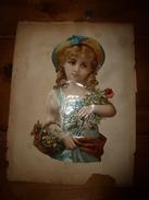 Année 1889 :Pleine Page De 1 Chromo-découpi JEUNE FILLE PORTANT DES FLEURS;Dos: 4 Images Dont Magasin AUX DEUX PASSAGES - Victorian Die-cuts
