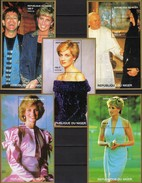 Sänger Elton John+Lady Di 1997 Niger 5 Blocks Bl.110+111 A ** 40€ Model Diana GB Hojas Blocs S/s Royal Sheets Bf UK - Textile