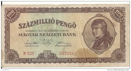 HONGRIE 100 MILLION PENGO 1946 VF P 124 - Hongrie