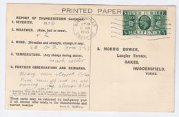 1935 BIRKENHEAD COVER Postcard METEOROLOGY Report Re THUNDERSTORM Gb Gv Stamps - Climate & Meteorology