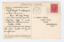 1935 Leeds COVER Postcard METEOROLOGY Report WEATHER STATION Re THUNDERSTORM ALL AFTERNOON Gb Gv Stamps - Climate & Meteorology