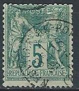 """YT 64 """" Sage 5c. Vert """" Cachet à Date Neuville Du Poitou - 1876-1878 Sage (Type I)"""