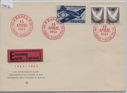 1945 100 Jahre Basler-Taube-Block W22/446 Paar F39/437 Eilsendung Expres Basel 15. April 45 - Blocs & Feuillets