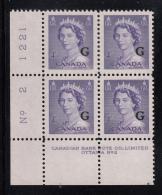 Canada MNH Scott #O36 'G' Overprint On 4c QE II Karsh Plate #2 Lower Left PB - Overprinted