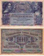 WWI (Germany - Occupation Lithuania) 100 RUBEL (1916) Pick R126 TTB- (F-VF) - [ 9] Occupied German Territories