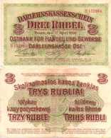WWI (Germany - Occupation Lithuania) 3 RUBEL (1916) Pick R123b TTB (VF) - [ 9] Occupied German Territories