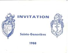 INVITATION -CEREMONIE DE LA SAINTE-GENEVIEVE  1988  TOULON VAR - Documents