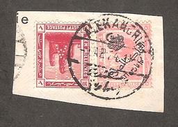 Perfin Perforé Firmenlochung Egypt YT 63 + YT 73 CL A Crédit Lyonnais Alexandrie - 1915-1921 Protectorat Britannique