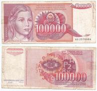 Yugoslavia 100.000 Dinara 1989 Pick 97 Ref 1293 - Yugoslavia