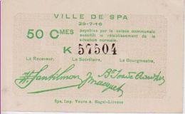Nécéssités (1ère Guerre) SPA (Ville) --> 50 Centimes  NEUF - [ 3] Occupations Allemandes De La Belgique