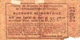 Nécéssités (1ère Guerre) VERVIERS (Secour Alimentaire)--> 25 Centimes  TB- - [ 3] Ocupaciones Alemanas En Bélgica