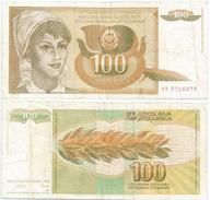 Yugoslavia 100 Dinara 1990 Pick 105 Ref 1295 - Yugoslavia