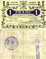 Belgique - Belgium HERSEAUX --> 1  Fr (29/11/1914 - Série 1)  TTB+ (VF+) - [ 3] Ocupaciones Alemanas En Bélgica