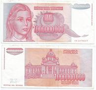 Yugoslavia 1.000.000.000 Dinara 1993 Pick 126 Ref 1303 - Yugoslavia