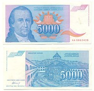 Yugoslavia 5.000 Dinara 1994 Pick 141.a UNC - Yugoslavia