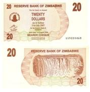 Zimbabwe 20 Dollars 2006 Pick 40 UNC - Zimbabwe