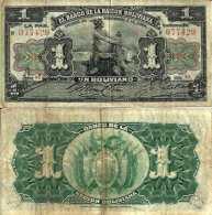 Bolivie - Bolivia 1 BOLIVIANO 1911 - Pick 102b TTB - Bolivia
