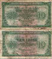 BELGIUM - BELGIQUE 10 FRANCS 1/2/1943 (Imp Londre) - Pick 122 TB (VG) - Sin Clasificación