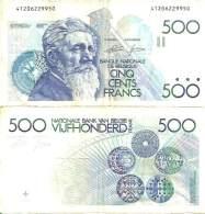 BELGIUM - BELGIQUE 500 FRANCS (1982-98) Pick 143 (Sig 4-13) TB+ (Fine) - [ 3] Ocupaciones Alemanas En Bélgica