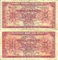 BELGIQUE - BELGIUM  5 Fr (1/2/1943 Série 1 Londre) Pick 121 TB - [ 3] Duitse Bezetting Van België