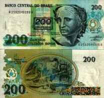 Brésil - Brazil 200 Cruzeiros /  200 Cruzados Novos 1990 - Pick 225b UNC - Brasil