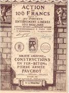 Action Ancienne - Constructions En Fer-Béton   Pierre Armée PAUCHOT. - Titre De 1928 - Industrie