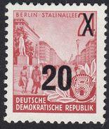GERMANIA DDR - 1955 - Yvert 194 Sovrastampato 20 P Su 24 P, Carminio. Nuovo MNH - [6] Repubblica Democratica