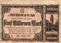 Nécessités (1ère Guerre) Ville De MULHEIM An Der Rhur: 5 000 000 Mark 3637f TTB - Luxembourg