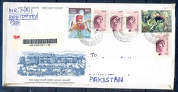 J391- Postal Used Cover. Posted From India To Pakistan. Mother Teresa. Animals. Tree. - India
