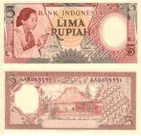 Indonésie - Indonesia 5 RUPIAH (1958) Pick 55 Spl (AU) - Indonésie