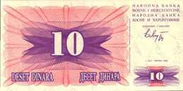 BOSNIE-HERZEGOVINE  10 DINARA Du 1-7-1792  Pick 10a  UNC/NEUF - Bosnie-Herzegovine