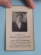 DP Rosalia JANSEN ( Adriaan VAN DE MOER ) Princenhage (NL) 31 Jan 1898 - Ekeren (B) 1 Juli 1963 ! - Avvisi Di Necrologio