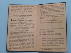 DP Josephus VERVEST ( Anna Maria Van Den HEUVEL ) Ekeren 16 Dec 1900 - 19 Maart 1946 ( Ongeval ) ! - Avvisi Di Necrologio