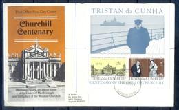 J521- Tristan Da Cunha FDC 30-11-1974 Sir Winston Churchill Birth Centenary Minisheet With Nice Cachet. - Tristan Da Cunha