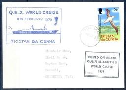 J525- Tristan Da Cunha 1979 Cover From Ship Cruise Queen Elizabeth To England - Bird Albatross. - Tristan Da Cunha